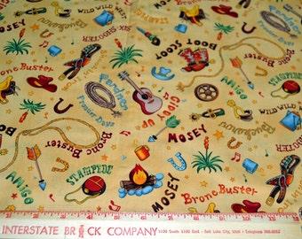 """Western Cowboy Cotton Fabric 41"""" Wide 1 Yard listing"""