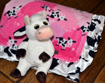 Western Cowgirl Baby Blanket Minky Cows Ruffle