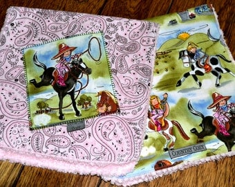 Western Cowgirl Burp Cloths Chenille Set of 2