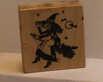 PSX Flying Witch with bats cat moon Rubber Stamp rare