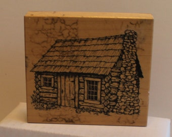 PSX Rustic Log Cabin with Stone Fireplace house Rubber Stamp rare