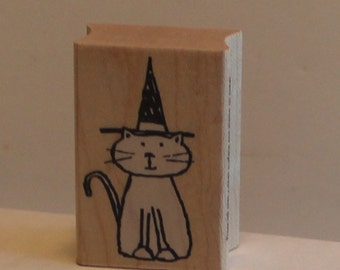 Cat in a Witch Hat Rubber Stamp