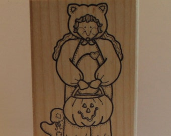 Girl in a Halloween Cat Costume with Ghost Pumpkin Rubber Stamp