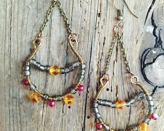 Wire wrapped crystal chandelier earrings with bronze wire. Boho/ gypsy/ beaded/ festival jewelry/ cochella/ bohemian/ antique brass wire