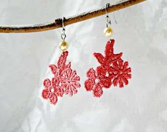 Pink Lace Earrings with Ivory Pearl and Silver Hooks