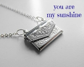You are My Sunshine Jewelry/ Envelope Pendant/ Locket/ Personalized Necklace/ Secret Message Jewelry/ Customizable Pendant/