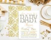 SALE. Digital Printable Floral Baby Shower Invitations. Printable. Custom Baby Shower Invites. Elegant Baby Shower. Navy Coral Invitation