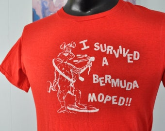 Vintage Bermuda Tee Survived Moped Super Soft n Thin TShirt Funny Rad 80s Beach Vacation caribbean Red SLIM MEDIUM