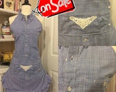 Handmade woman's apron, up cycled man's shirt, full, kitchen, kitchy, baking, gingham, country, sexy