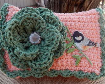 Crocheted Purse  ~  Peach and Sage with Bird Crocheted Cotton Little Bit Purse  ~  Bubble Gum Style Crocheted Purse