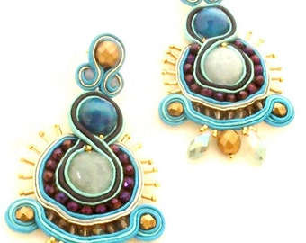 Honorine // silk blue gold statement earrings , dangle purple bronze chandelier earrings , long chandelier silk earrings , unique jewelry