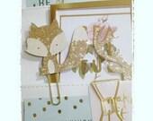 paper clip fox glitter gold for planner