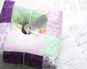 Mint and Purple Square Pincushion Floral Pin Keep Scrappy Pin Cushion
