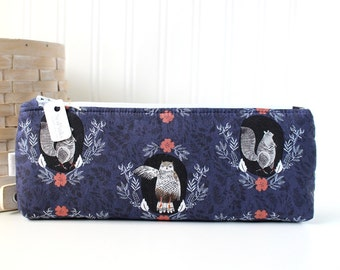 Navy Blue Woodland Animals Pencil Case Woodland Pencil Pouch Blue Purse Organizer
