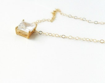 Solitaire Gold Necklace / Square Cubic Zirconia  / 14K gold chain / Geometric necklace / Layering jewelry / bridal / minimalist / under 40