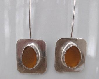 Sea Glass Earrings - Honey Amber Sea Glass and Sterling Silver Earrings