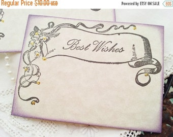 SALE FREE SHIPPING  Wedding Wish Cards Vintage Inspired Banner Purple Edging Gold Glitter Wish Box Cards Set of 25