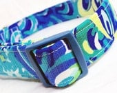 Lilly Pulitzer Fabric Dog Collar Boy Girl Sea Blue Lilly's Lagoon