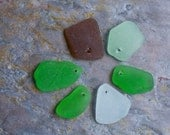 Mid Sized Seaglass. Top Drilled. White, Green, Seafoam & Brown. 6 Pieces. Lot Q7