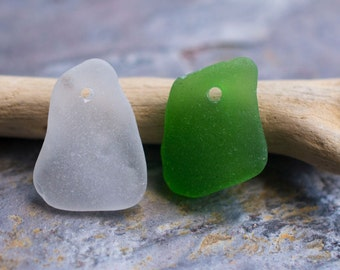 Frosted Green & White Seaglass Duo. Top Drilled. Lot M9