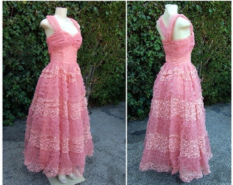 Authentic 1950s PINK Crinoline Prom Cocktail Tulle Party Dress