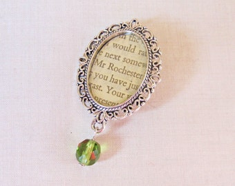 Jane Eyre Brooch Mr Rochester Bridal Bouquet Pin. Charlotte Bronte Literature Olivine Green Vintage Repurposed Text Book. Cameo. Jewellery