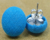 Brilliant Turquoise Blue Fabric Button Earrings