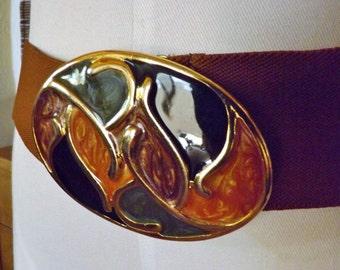 Vintage Enamel Earth tones Brown Elastic Cinch Belt M L