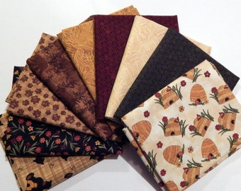 NEW Bear Paws Quilt Craft Fabric Bundle of 9 Fat Quarters - Tan Bee Skeps, Browns and Reds
