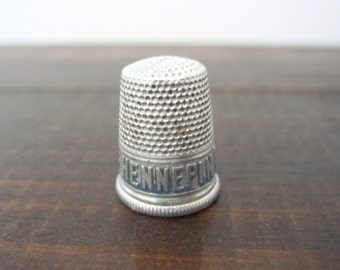 Antique Hennepin Beers Metal Thimble, Advertising Thimble Souvenir of Minneapolis MN Hennepin Brewery
