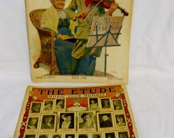 Vintage Etude Magazine July 1920 and March 1922