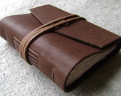 "Small Leather Journal, 3.5""x 4.5"", chocolate, handmade journal by Dancing Grey(1656)"