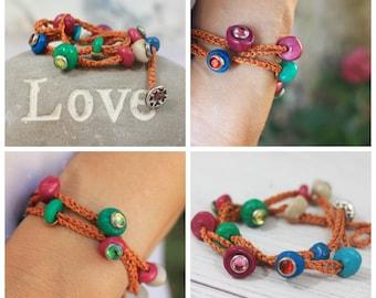 Wish bracelet, Luck bracelet, Sorority piece, evil eye bracelet, Lucky Charm jewelry, wishing gift, kabbalah string, love gift