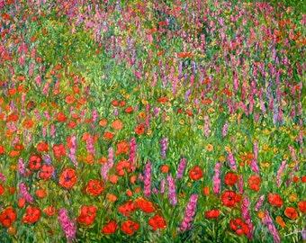 Wildflower Current Art 40x30 Impressionist Wildflower Oil Ptg. by Award Winner Kendall Kessler