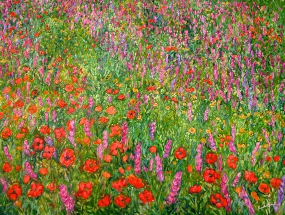 Wildflower Current Art 40x30 Impressionist Wildflower Oil Ptg. by Award Winner Kendall Kessler