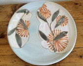 Pottery Plate: Hand Made, Orange Floral Pattern