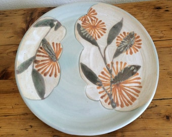50% off - Pottery Plate: Hand Made, Orange Floral Pattern