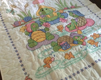 Frog and Turtle Party cross stitch Quilt