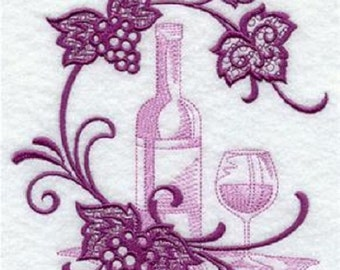 Beautiful embroidered wine flour sack dish towel