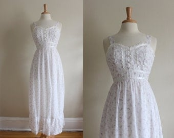 1970s Gunne Sax Dress / Vintage White & Purple Floral Maxi Dress / Prairie Dress