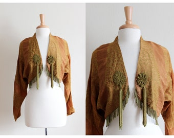 Vintage Gold Beaded Fringe Bolero Jacket