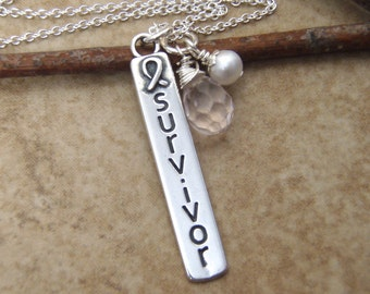 Survivor necklace - Awareness jewelry - Awareness ribbon - Sterling silver Cause jewelry - Photo NOT actual size