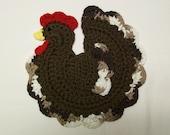 Chicken Rooster Pot Holder Potholder Chocolate Brown Farm Animal Cotton Hot Pad Kitchen Decor Housewarming Gift