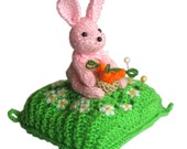 Pink Bunny Pincushion Pdf Email Knit PATTERN