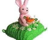 Pink Bunny Pincushion Pdf Email Knit PATTERN