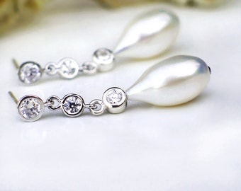 Bridal Teardrop Pearl Earrings   White Freshwater Elongated Drop Pearls   CZ Sterling Silver Dangles   Allure Silver Calla   Ready to Ship