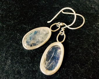 Faceted Rainbow Moonstone & Sterling Silver Drop Earrings