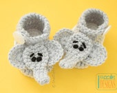 Handmade Crochet Elephant Booties - READY to SHIP for 0 to 3 Months