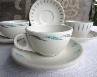 Vintage Homer Laughlin Best China Cup and Saucer Turquoise and Grey Restaurant Ware