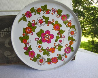 Vintage Retro Flower Lazy Susan Spinning Tray